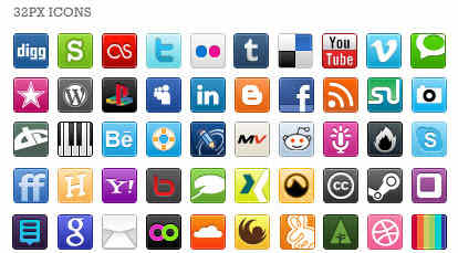 Social Bookmarking Share Buttons 32px Icons