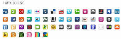 Social Bookmarking 16px Buttons