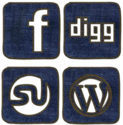 Stitched Denim Blue Jeans Social Media Graphic Icons