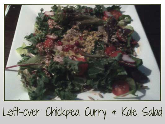 Left-over Chickpea Curry & Kale Salad