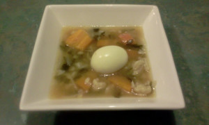 Chicken Bone Broth & Hard-boiled Egg