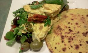 Eggs, Kale, Chickpea Roti