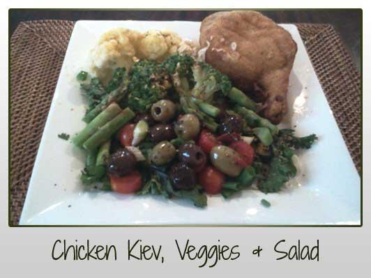 Chicken Kiev, Veggies, Salad