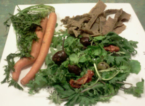 Lamb, Dutch Carrots, Kale, Watercress, Parsley, Sundried Tomatoes, Olives, Flaxseed Oil, Nori Flakes