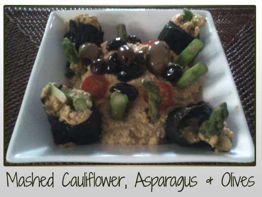 Mashed Cauliflower Asparagus Olives
