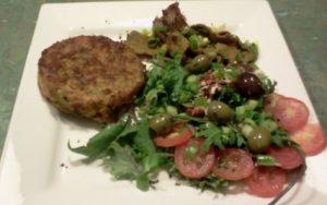 Veggie Burger, Salad, Olives, Sundried Tomatoes, Lamb