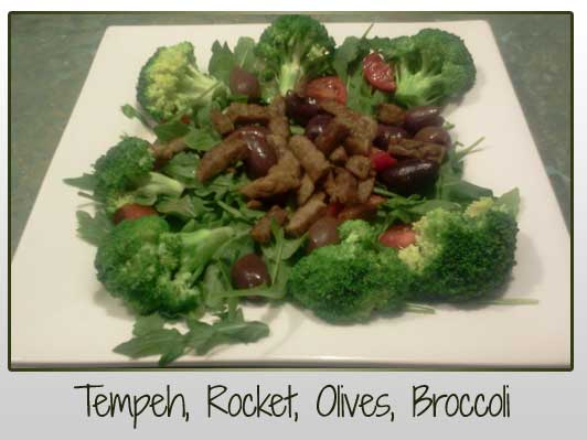 Tempeh, Rocket, Olives, Broccoli, Cherry Tomatoes