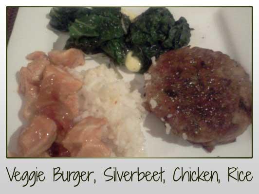 Veggie Burger, Silverbeet, Sweet & Sour Chicken, Rice