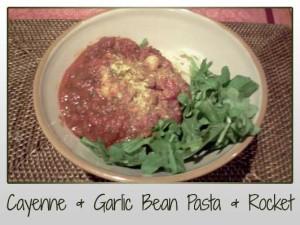 Red Kidney Beans, Tomatoes, Garlic, Cayenne Pepper, Black Pepper, Oregano, Basil, Rocket, Pasta