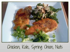 Chicken, Kale, Spring Onion, Nuts