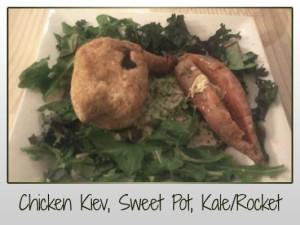 Chicken Kiev, Sweet Potato, Kale, Rocket, Broccoli & Cauli Mash