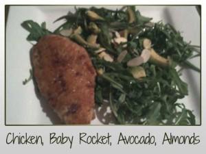 chicken, rocket, avocado, almonds