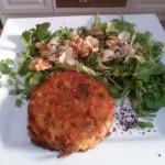 Veg Burger, Salad, Nuts, Seeds