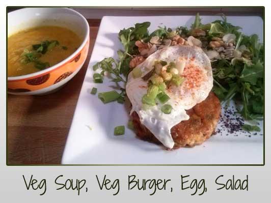 Soup, Veg Burger, Egg, Salad, Nuts, Seeds