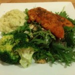 Chicken Tender, Mashed Cauliflower, Broccoli, Salad