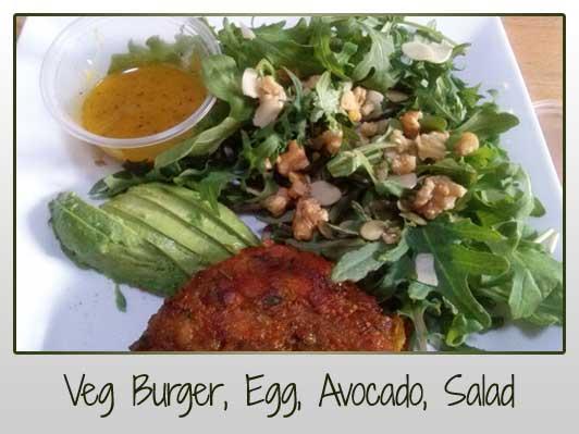 Veg Burger, Egg, Avocado, Salad