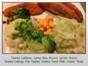 Mashed Cauliflower, Spring Onion, Brussels Sprouts, Broccoli Steamed Cabbage, Raw Pumpkin, Steamed Sweet Potato, Chicken Tender