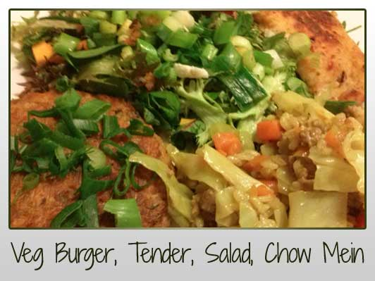 Veg Burger, Tender, Salad, Chow Mein