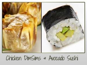 Chicken DimSims & Avocado Sushi