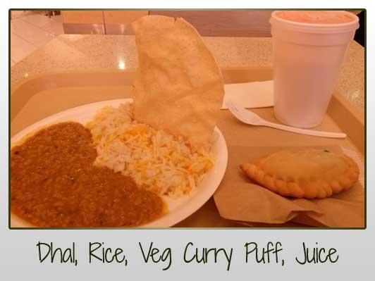 dhal, rice, veg curry puff, fresh juice