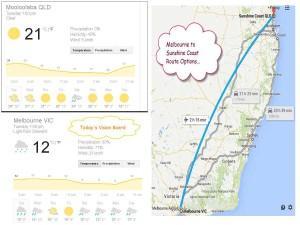 Melbourne to Sunshine Coast Comparison Weather and Route