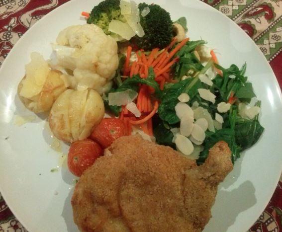 Garlic Kiev, Veg, Salad