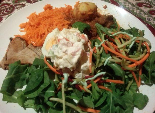 Russian Salad, Indian Curry, Saffron Rice, Salad