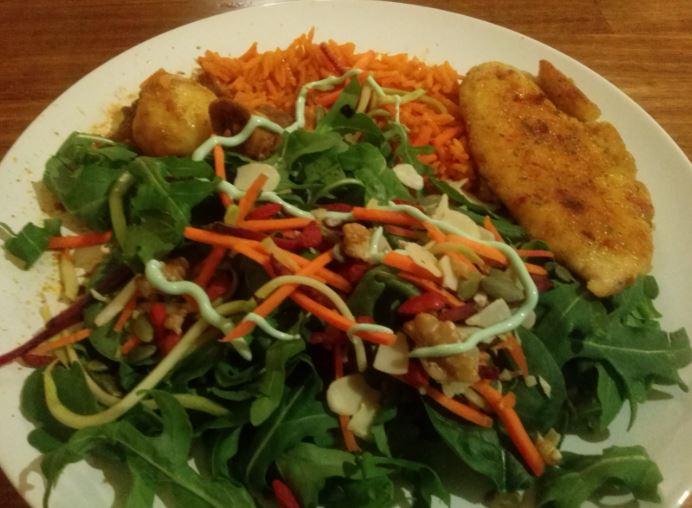 Chicken Tender, Saffron Rice, Salad