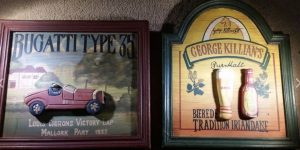 Awesome Wooden 3D wall frames (Bugatti Type 35 & George Killian's Pure Malt) for Man Cave or Bar